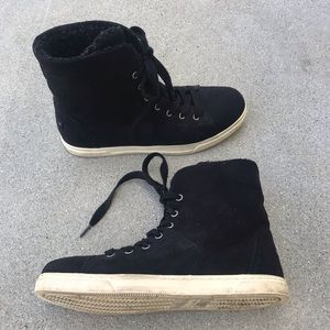 INDIGO RD. Black lace up sneaker BOOTS faux fur